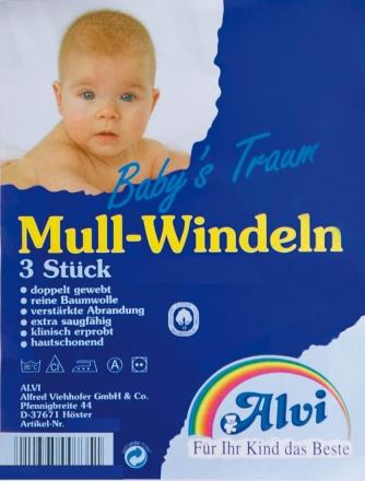 Alvi Mull Windeln weiß 93810 3Stck pro Packung.