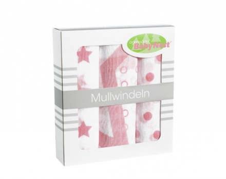 Odenwälder Mullwindeln 10081/300 Sterne/Tupfen/Kreise rose 3er P