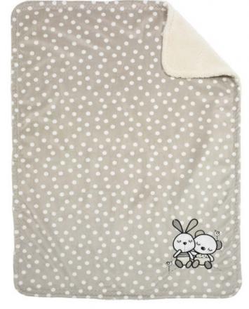 Alvi microfiber baby blanket with application rabbit sandgrey 75x100