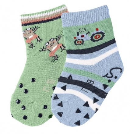 Sterntaler 8011721 ABS-crawling socks tractor (2x pack) 21/22 sky