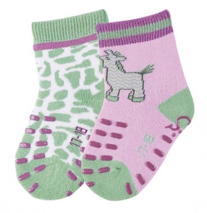 Sterntaler 8011725 ABS-crawling socks zebra (2x pack) 21/22 alomond blossom