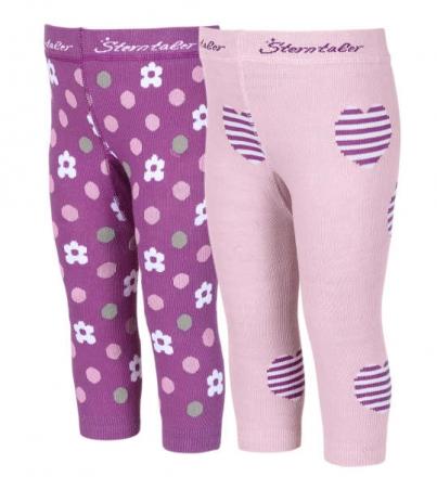 Sterntaler 8661721 Leggings Herzen/Blumen (Doppelpack) Gr.74 mandelblüte