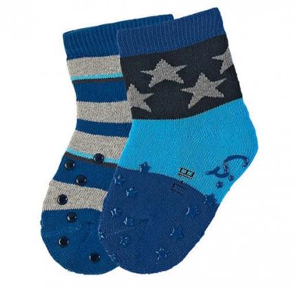 Sterntaler ABS-crawling socks stars (2x pack) atlantic