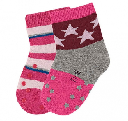 Sterntaler ABS-crawling socks stars (2x pack) 21/22 magenta