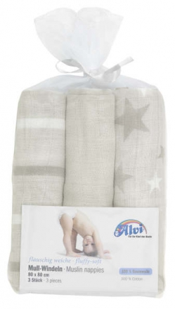 Alvi burp cloth stripes, stars, uni grey 3 piec. 80x80