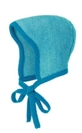 Disana knitted hood blue-natural melange size 0