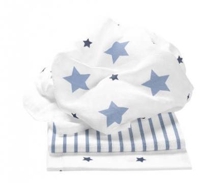 Odenwälder Mullwindeln stars and stripes ice blue