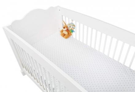 Pinolino Spannbetttücher für Kinderbetten im Doppelpack Sternchen, Jersey, grau und Uni, weiß
