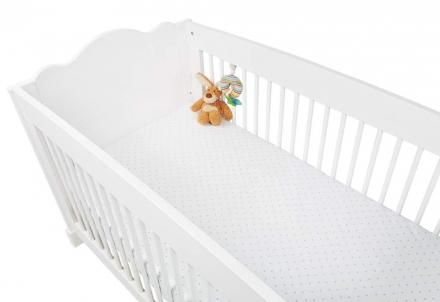 Pinolino Spannbetttücher für Kinderbetten im Doppelpack Sternchen, Jersey, hellblau und Uni, weiß