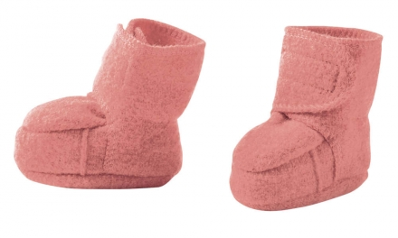 Disana boiled wool booties size 2 rose