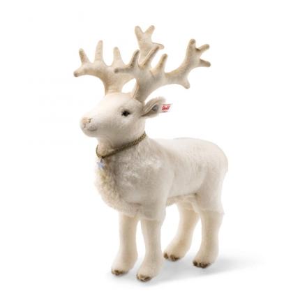 Steiff 006654 winter reindeer 32 Alpaca white Swarovski