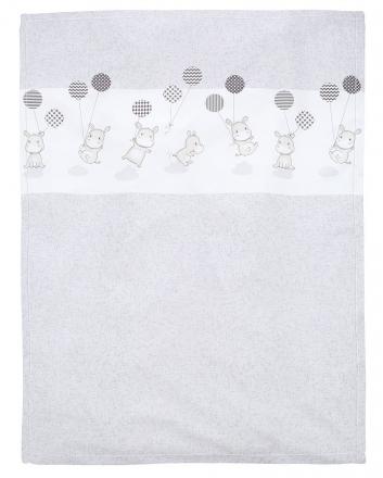 Alvi 931849729 Microfaser Baby Decke Hippo silber 75x100