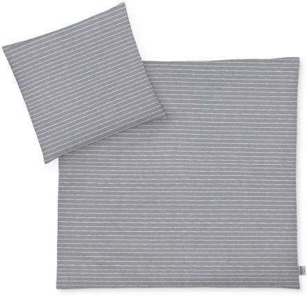 Zöllner Jersey Bettwäsche Grey Stripes 80x80