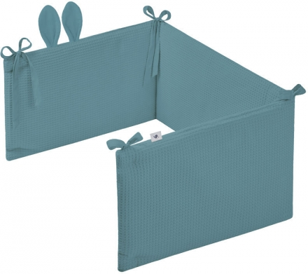 Zöllner Cot Bumper with Ears 180cm Waffle Piqué Greenery