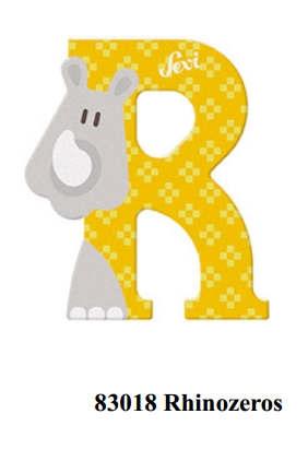 Sevi wooden letter R rhinoceros