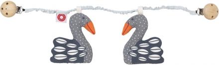 FRANCK & FISCHER Pram clip chain Swan Kesja dark