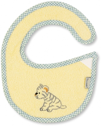 Sterntaler Plastic baby bib Cuddly Zoo light yellow