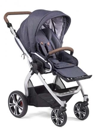 Gesslein Indy combi-stroller Denim incl. carryot, seat frame silver/tobacco