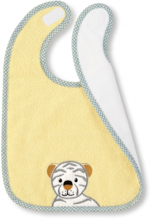 Sterntaler bib with velcro fastening zoo tiger tapsi bright yellow