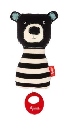 Sigikid 39120 Musical toy bear black & white