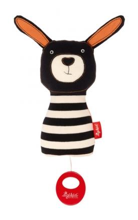 Sigikid 39121 musical soft toy rabbit black & white