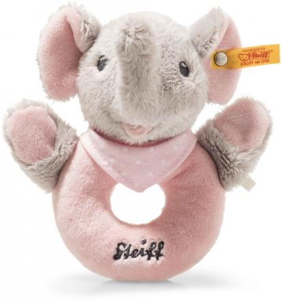 Steiff Trampili Elephant rattle 13 cm grey / pink