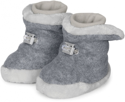 Sterntaler Baby-bootees with cord stopper 17/18 silver melange