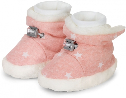 Sterntaler Baby-bootees with cord stopper stars 21/22 soft rose