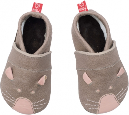Anna and Paul leather toddler shoe mouse stone with leather sole size L-22