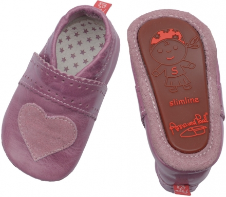 Anna and Paul leather toddler shoe heart lilac with rubber sole
