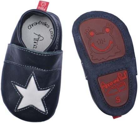 Anna and Paul leather toddler shoe Stella navy with rubber sole