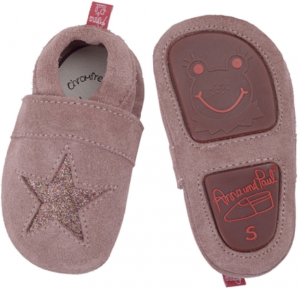 Anna and Paul suede toddler shoe stars rose with rubber sole