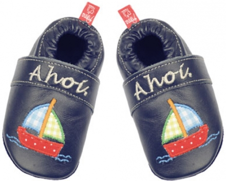 Anna and Paul leather toddler shoe ahoi navy with rubber sole XL-23