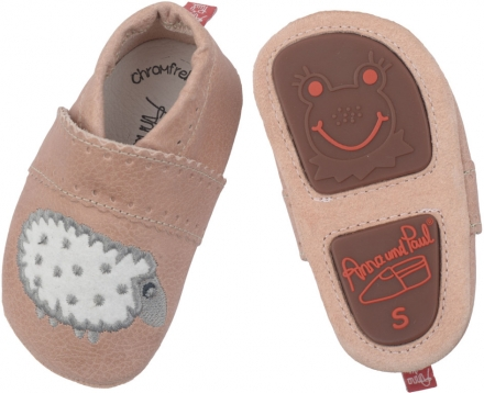 Anna and Paul leather toddler shoe sheep powder with rubber sole  L-22