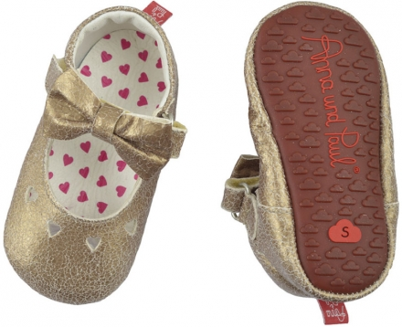 Anna and Paul leather toddler shoe gold bow with rubber sole M-20/21