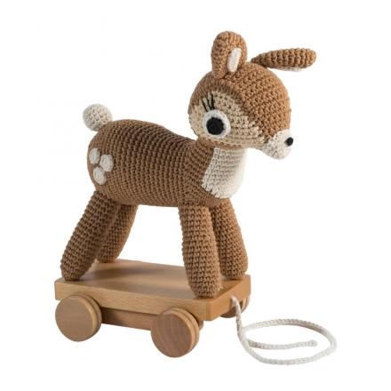 sebra chrochet pull-along toy, deer light brown
