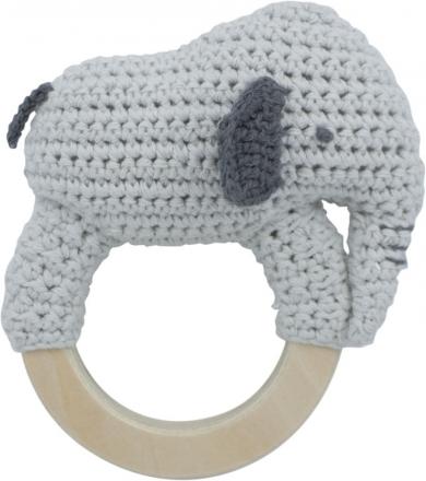 Sebra Crochet rattle Finley on ring dew grey