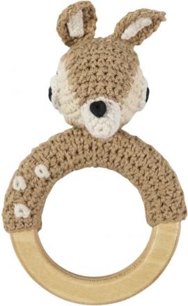 Sebra Crochet rattle on wooden ring Deer brown