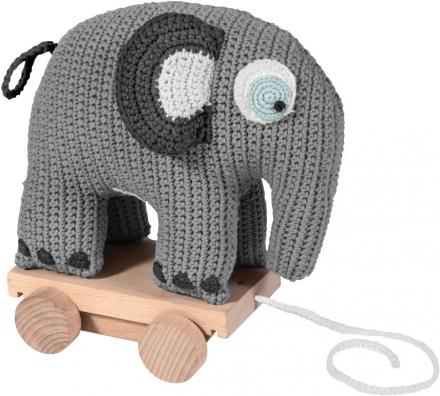 Sebra Crochet pull-along toy Fanto the elephant classic grey