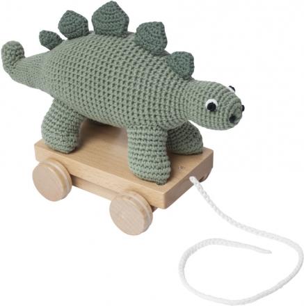 Sebra Crochet pull-along toy Dino green