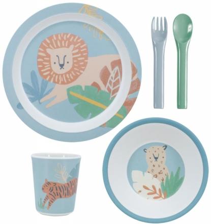 Sebra Melamine dinner set (5 pcs.) Wildlife eucalyptus blue