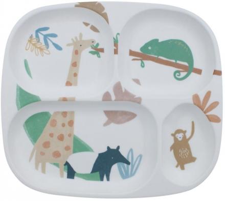 Sebra Melamine plate with 4 rooms Wildlife