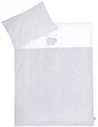 Zöllner Bedding with appliqué Bear spots grey 100x135cm