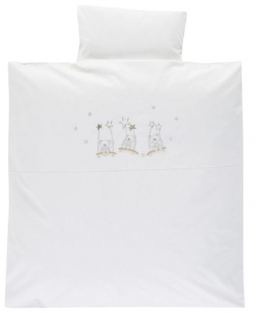Alvi Bedding with embroidered application Bear on swing 80x80cm