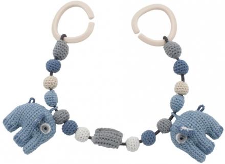 Sebra Crochet pram chain Fanto the elephant powder blue