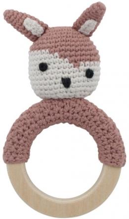 Sebra Crochet rattle on wooden ring Siggy blossom pink
