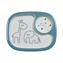 Done by Deer Done by Deer Yummy mini compartment plate, Dreamy dots, blue