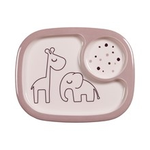 Done by Deer Done by Deer Yummy mini compartment plate, Dreamy dots, powder
