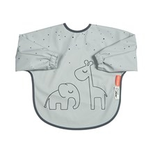 Done by Deer sleeved bib, 6-18m, Dreamy Dots, grey