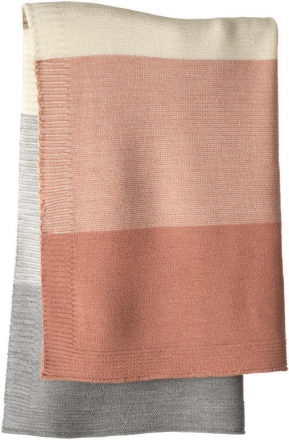 Disana Merino wool knit plaid rose/nature 100x80cm